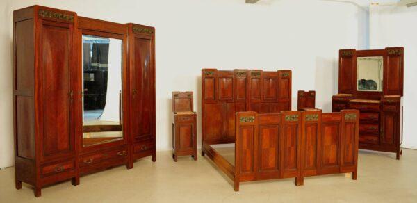 Französisches Jugendstil Schlafzimmer aus Mahagoni