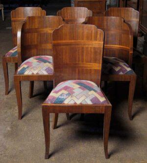 Sechs französische Art Deco Stühle