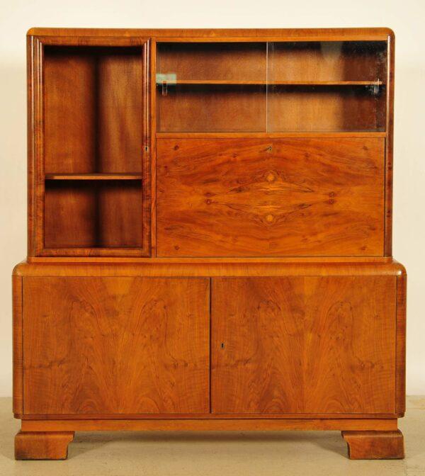 Art Deco Vitrine mit Sekretärabteil