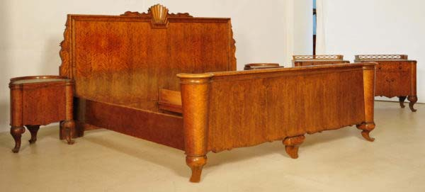 Sechsteiliges Art Deco Schlafzimmer aus Birkenholz