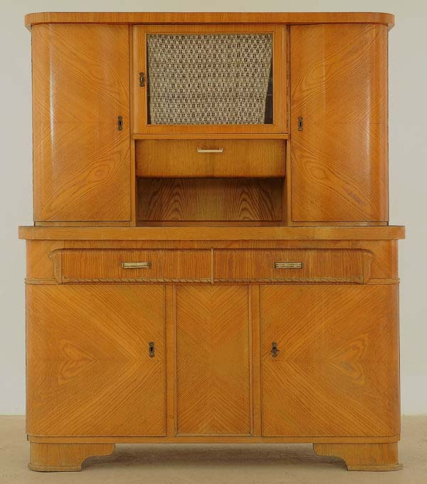 Art Deco Küchenschrank aus Eschenholz