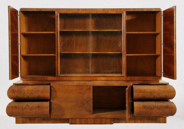 Art Deco Bücherschrank aus Nussbaum