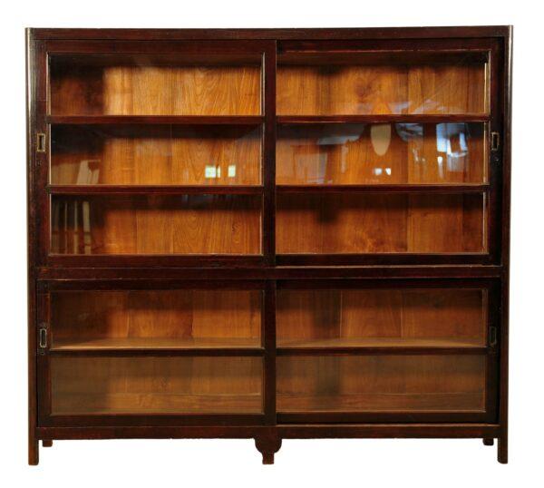 Bücherschrank mit Glasschiebetüren aus massivem Teakholz