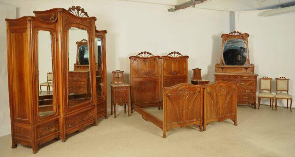 Seltenes Jugendstil Schlafzimmer aus Mahagoni