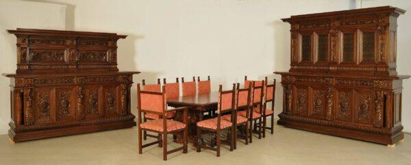 13-teiliges Prunk Speisezimmer aus der Neorenaissance
