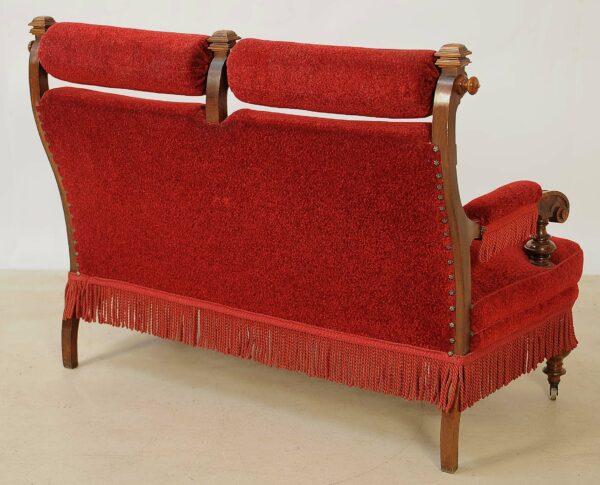 Vierteilige Gründerzeit Sitzgruppe mit roten Bezügen